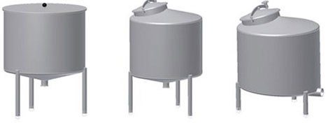 Balance tanks with open lid or man-way. Conical bottoms or flat bottom